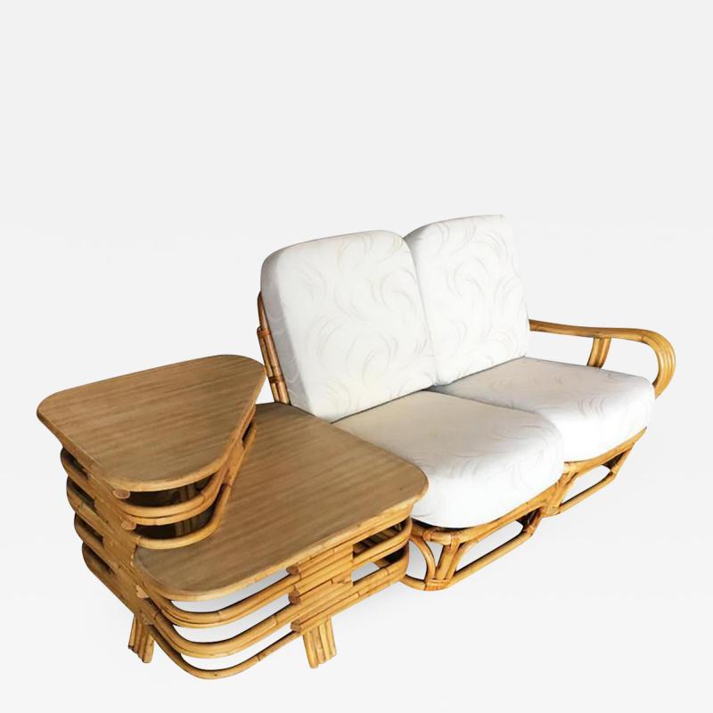 Rare Paul Frankl Style Square Pretzel S Arm Rattan Sofa w 2 Tier Table