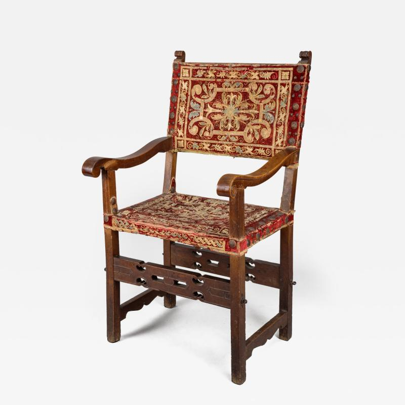 Rare Spanish Arm Chair with Original Embroidered Fabric
