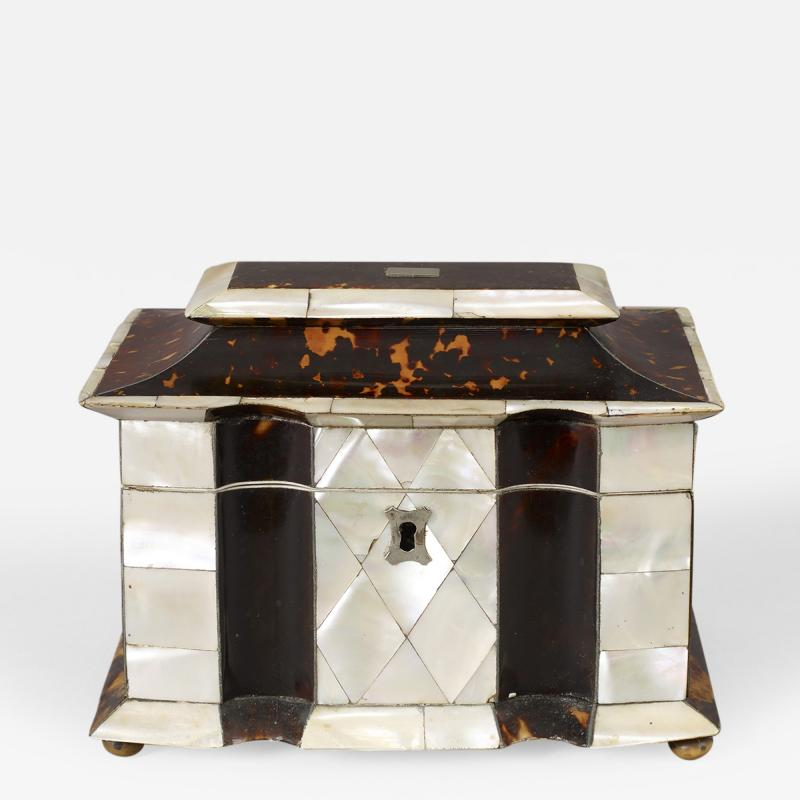 Rare Tortoise Shell and Mother of Pearl Tea Caddy