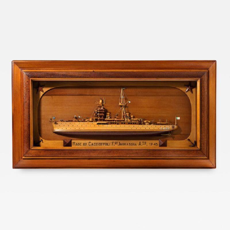 Rare WWII Italian Prisoner of war work model of Italian cruiser Zara