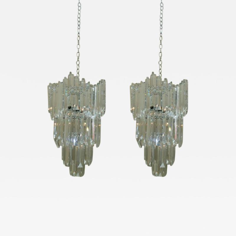 Rare and Attractive Pair of Mid Century Lucite Chandeliers