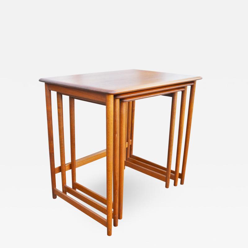 Rasmus Solberg Lovely Set of 3 Solid Teak Knife Edge Nesting Tables by Rasmus Solberg