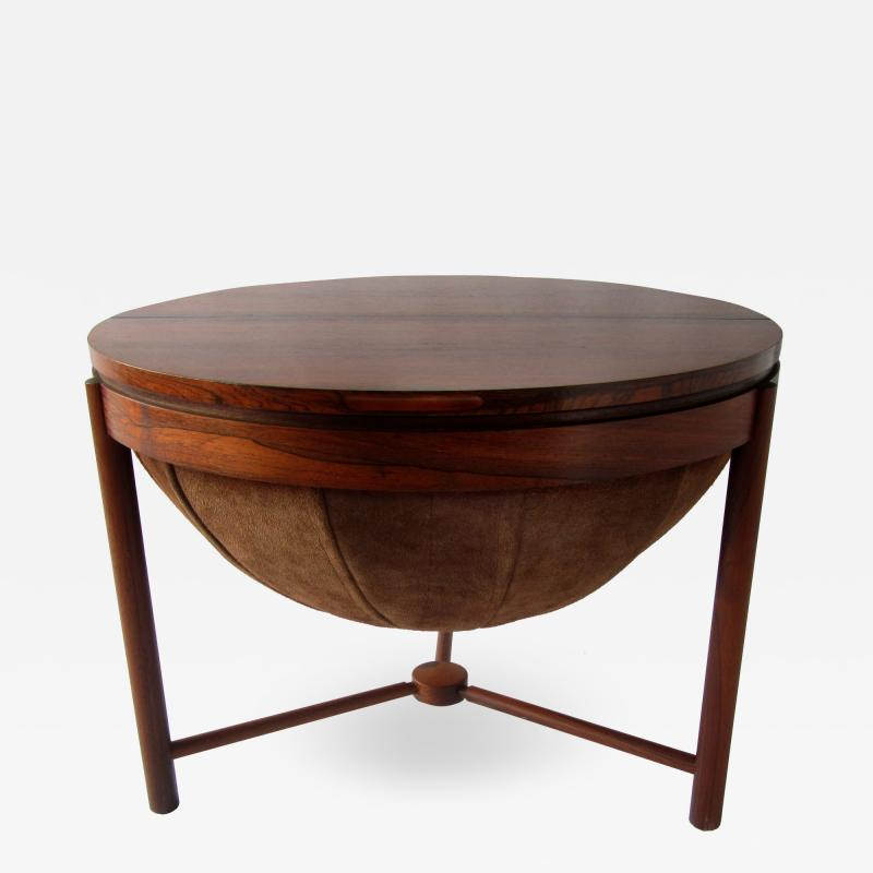 Rastad Relling Side Table bar with Suede basket by Rastad Relling Rasmus Solberg