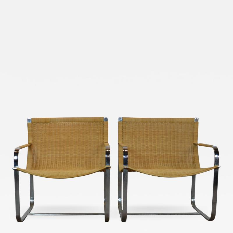 Rattan Chrome Lounge Chairs by Milo Baughman