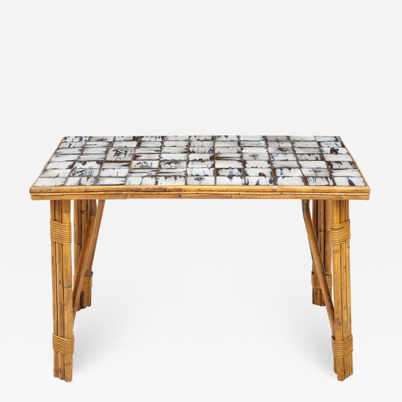 Rattan Dining Table with a Ceramic Tile Top France c 1950