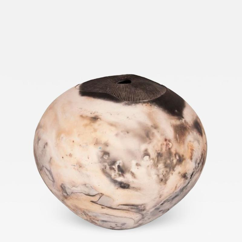 Ray Rogers LARGE RAKU OVIOD POT FUNGOID FORM WITH A BURNISHED FINISH