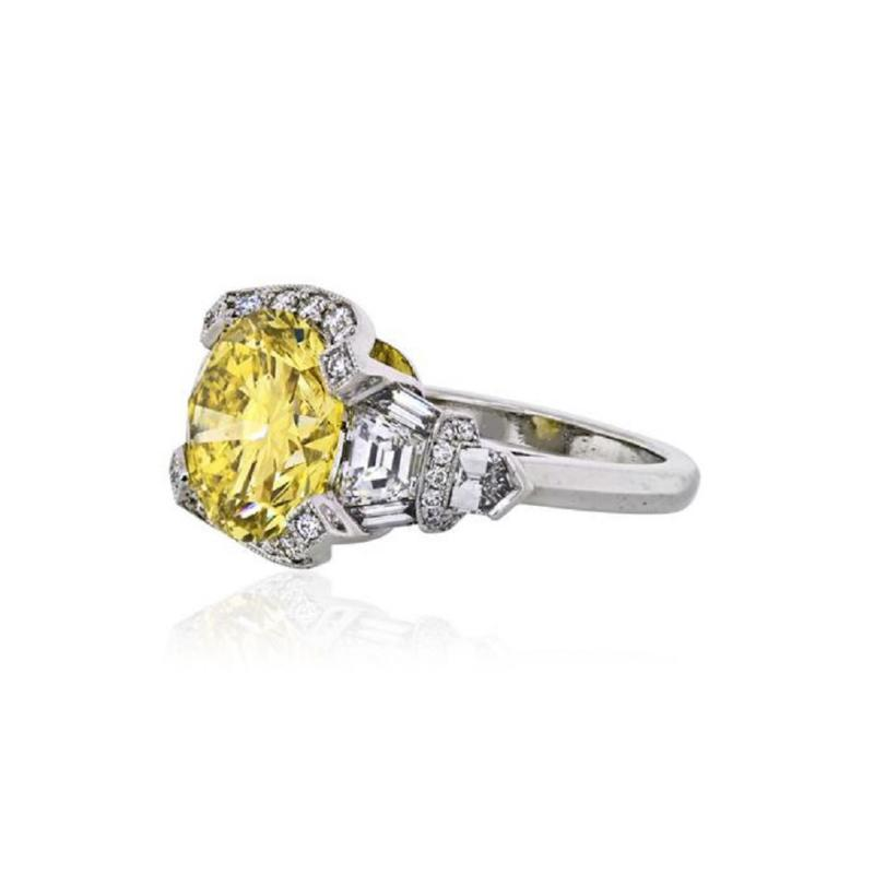 Raymond C Yard RAYMOND C YARD 5 CARAT ROUND DIAMOND FANCY INTENSE YELLOW GIA ENGAGEMENT RING
