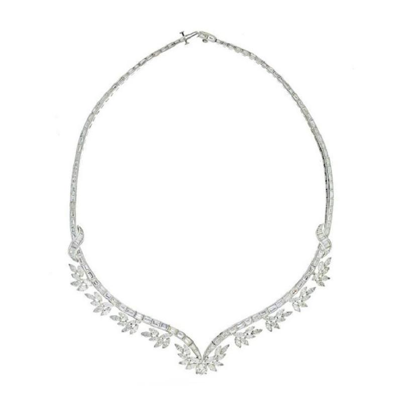 Raymond C Yard RAYMOND C YARD PLATINUM BAGUETTE AND MARQUISE CUT DIAMOND NECKLACE