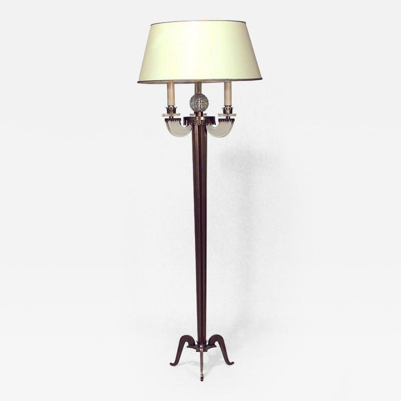 Raymond Lorence French 1940s Fluted Brass Column Floor Lamp