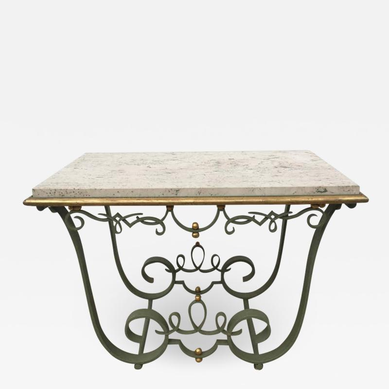 Raymond Subes Raymond Subes Attributed Iron and Gilt Marble Table