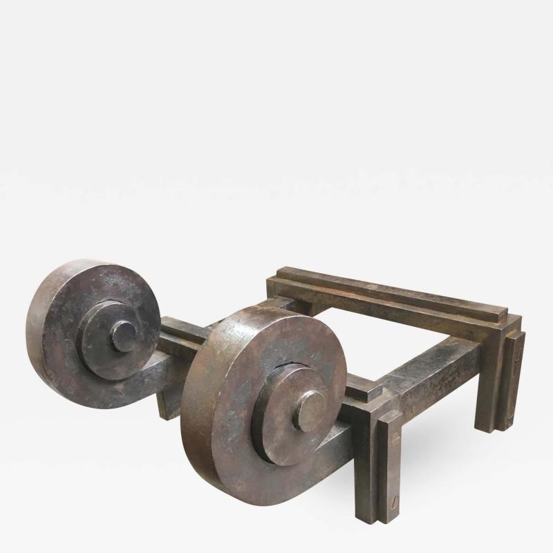 Raymond Subes Raymond Subes Superb Powerful Wrought Iron Andiron