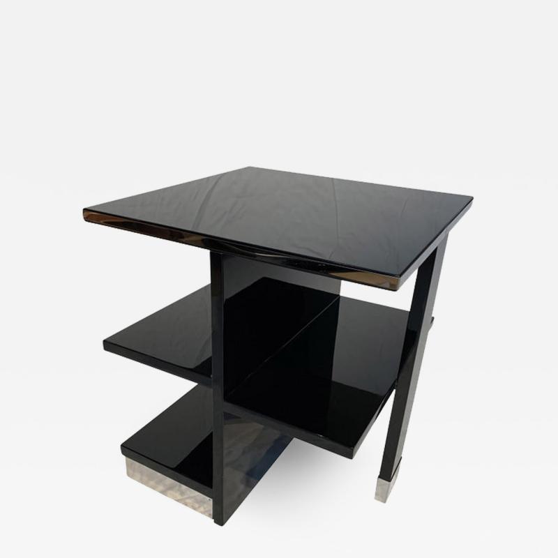 Rectangular Sofa Table Black Lacquer and Nickel France circa 1930