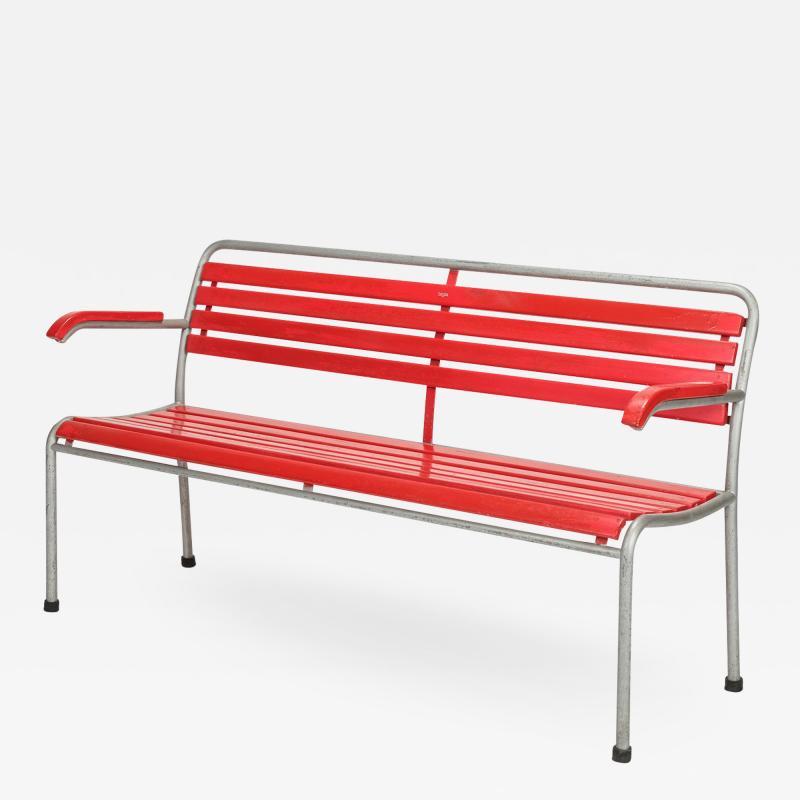 Red Bigla garden bench 50s