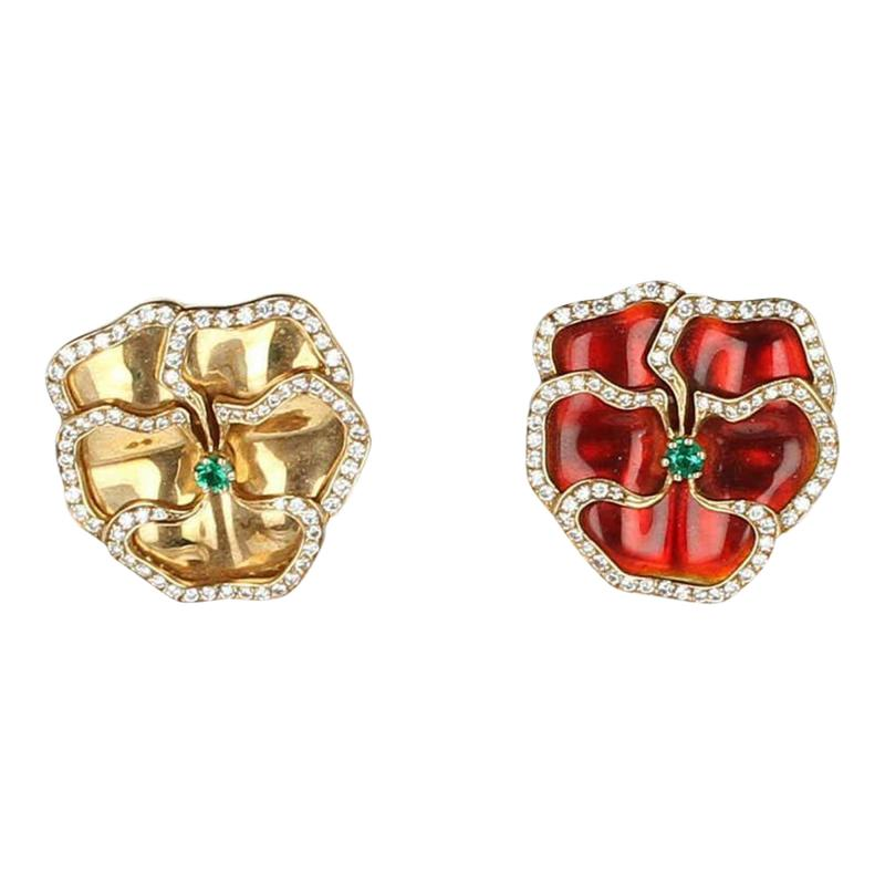 Red and Yellow Enamel Earrings with Emerald and Diamonds