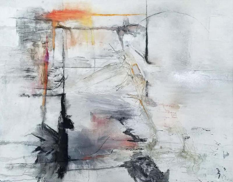 Reflections Black White Gray Abstract Painting By Kathi Robinson Frank