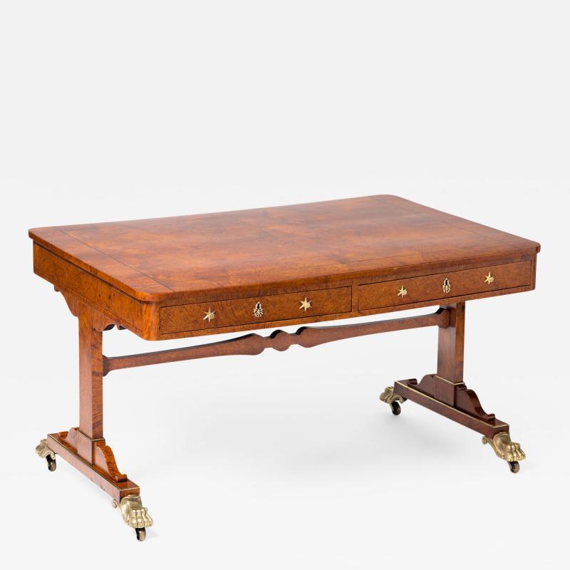 Regency Burr Elm Library Table