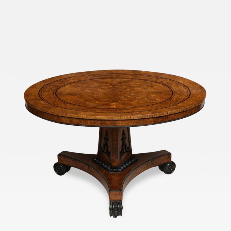 Regency Burr Oak and Ebony Centre Table