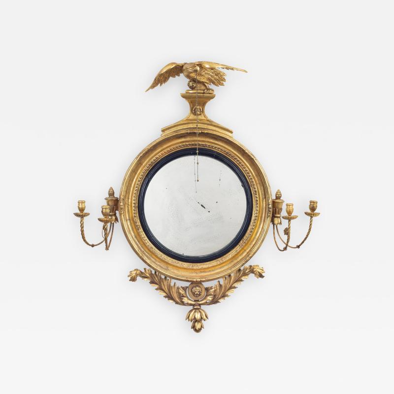 Regency Classical Gilt Convex Girandole Mirror