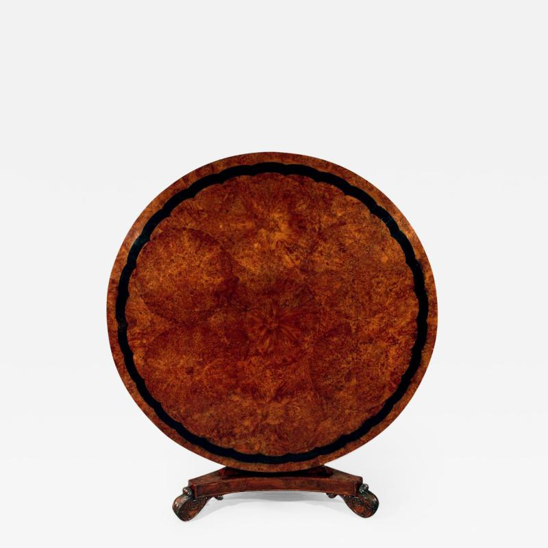 Regency Period Circular Burr Yew Wood Center Table
