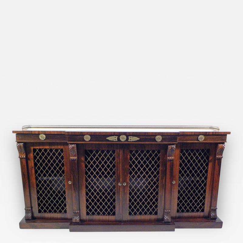 Regency Rosewood Breakfront Side Cabinet