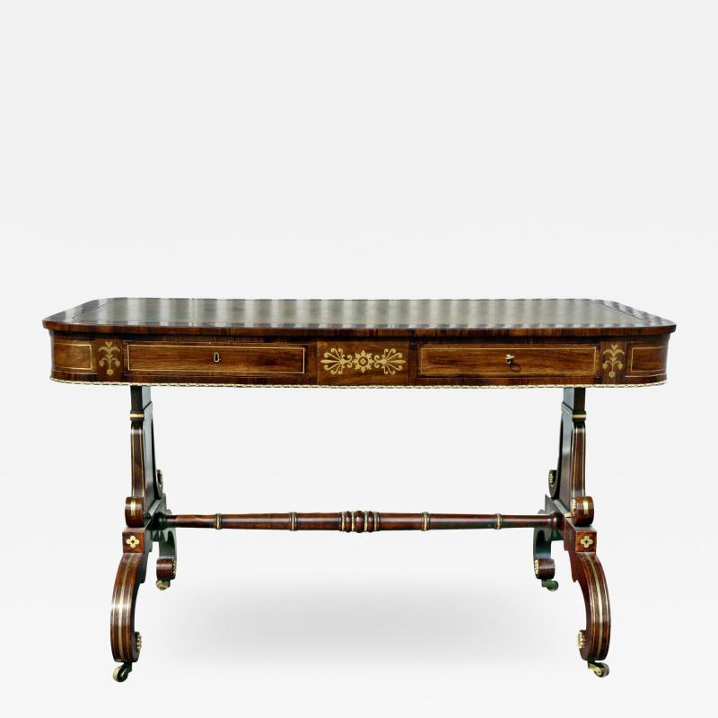 Regency Rosewood and Brass Inlaid Writing Table