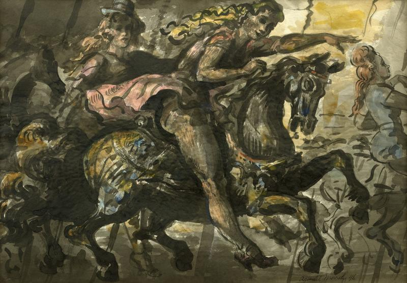 Reginald Marsh Girls on a Merry Go Round and Statue of Liberty a double sided watercolor