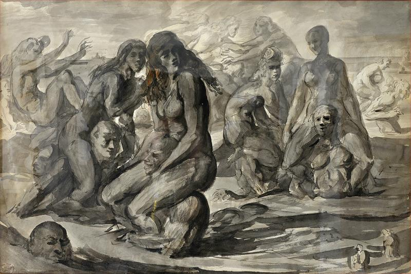 Reginald Marsh Water Sports Swimmers and Bathers at Coney Island