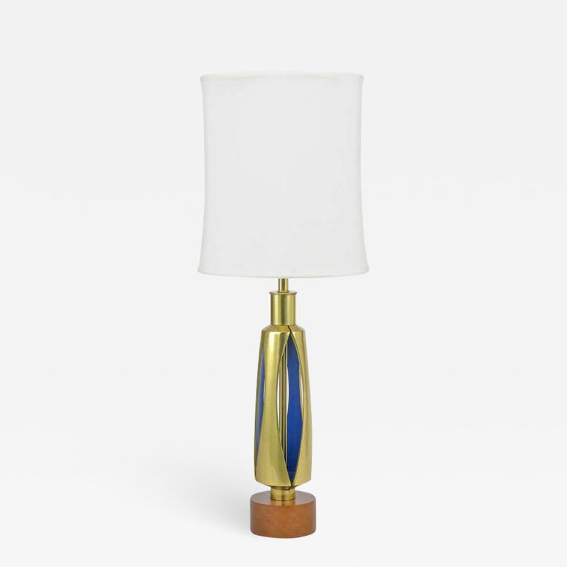 Rembrandt Brass and Azure Blue Table Lamp