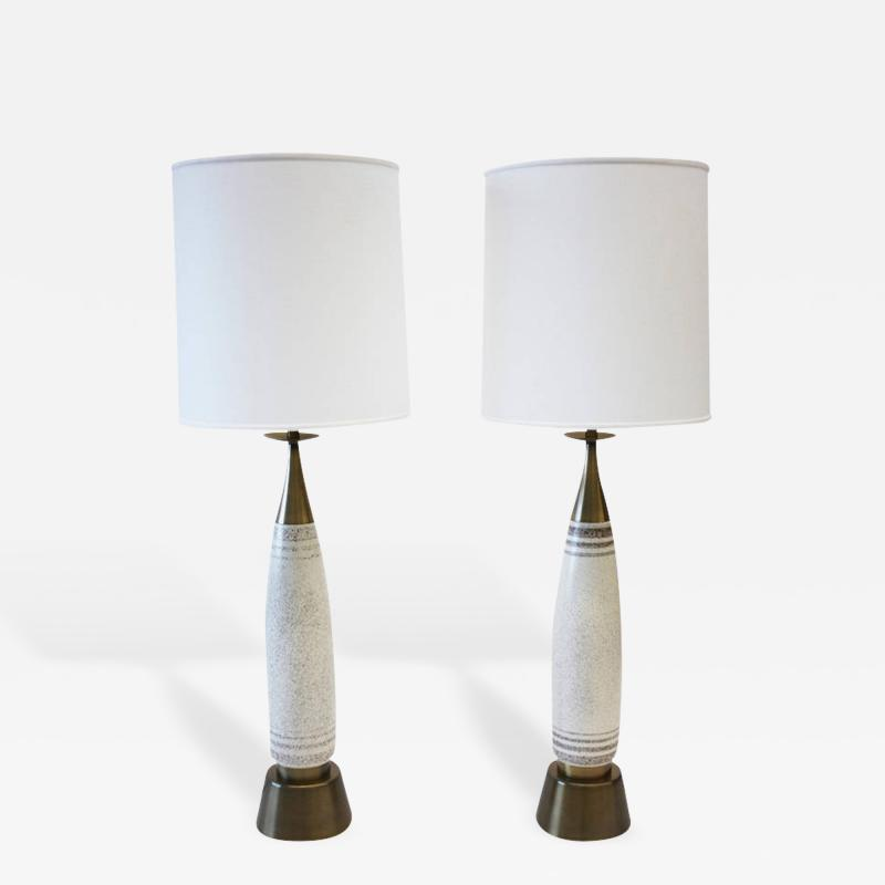 Rembrandt Lamp Company Rembrandt Stippled Glaze Ceramic and Brass Table Lamps Pair