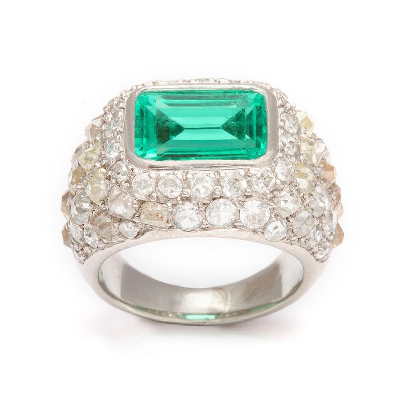 Ren Boivin Emerald Diamond Ring in Platinum by Rene Boivin