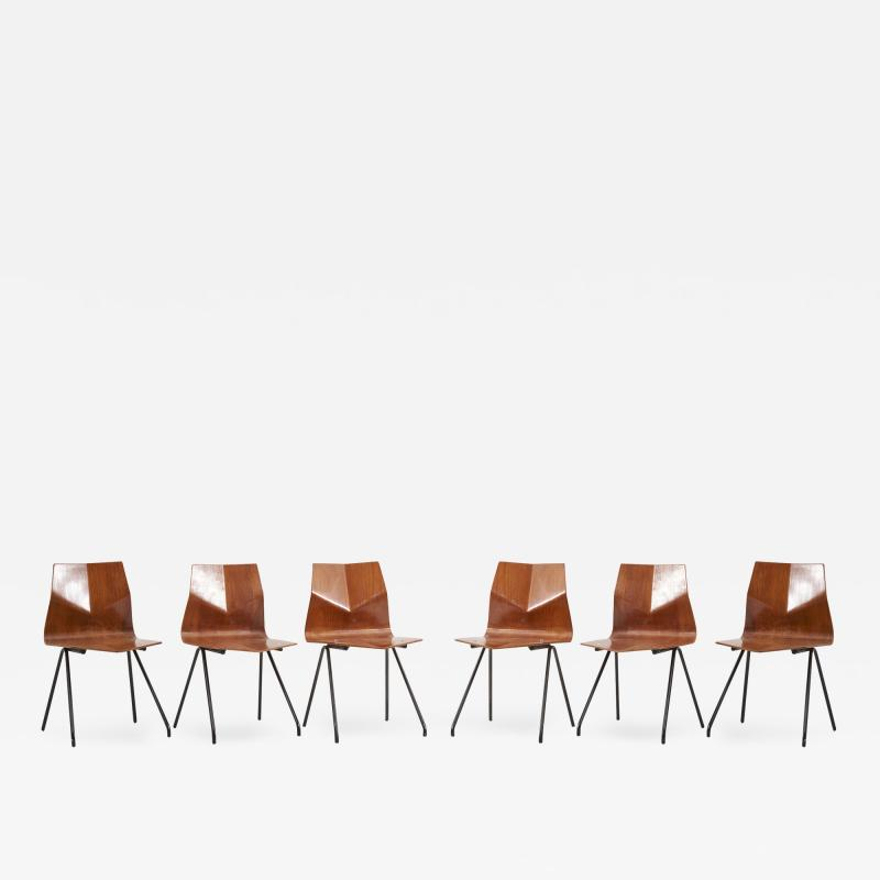 Ren Jean Caillette Set of 6 Plywood Dining Chairs by Ren Jean Caillette for Steiner France 1958