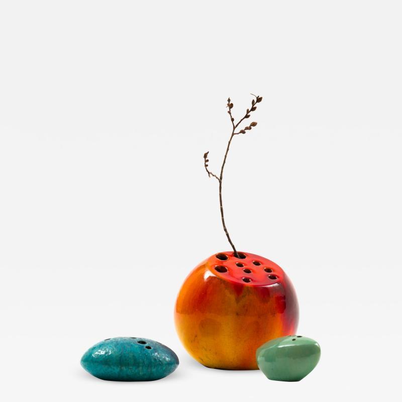 Renato Bassoli Renato Bassoli Large Blood Orange Ceramic Sassi Vase 1950s