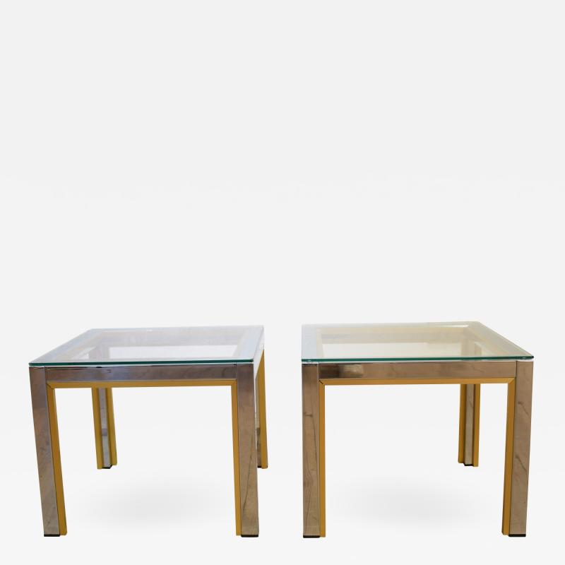 Renato Zevi 1970s Brass and Chrome Pair of Side Coffee Table by Renato Zevi for Romeo Rega