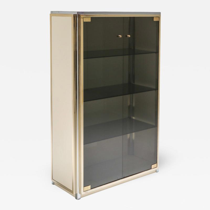Renato Zevi Brass and Chrome Renato Zevi Vitrine Showcase with Glass Doors 1970s