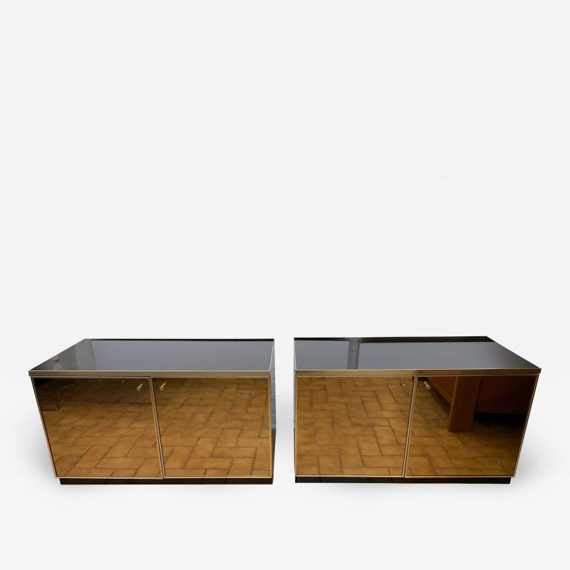 Renato Zevi Pair of Nightstands Brass and Mirror by Renato Zevi Italy 1970s