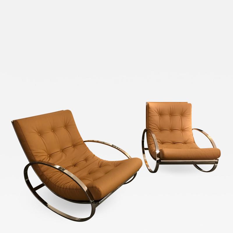 Renato Zevi Pair of Rocking Lounge Chair Metal Leather by Renato Zevi Italy 1970s