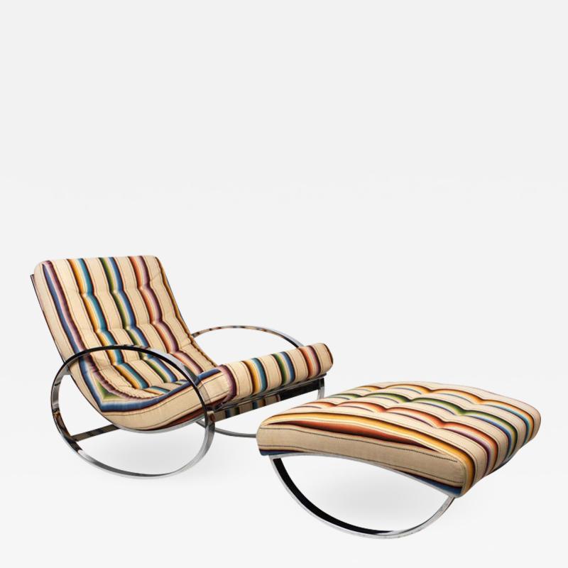 Renato Zevi Rocking Lounge Chair and Ottoman by Renato Zevi