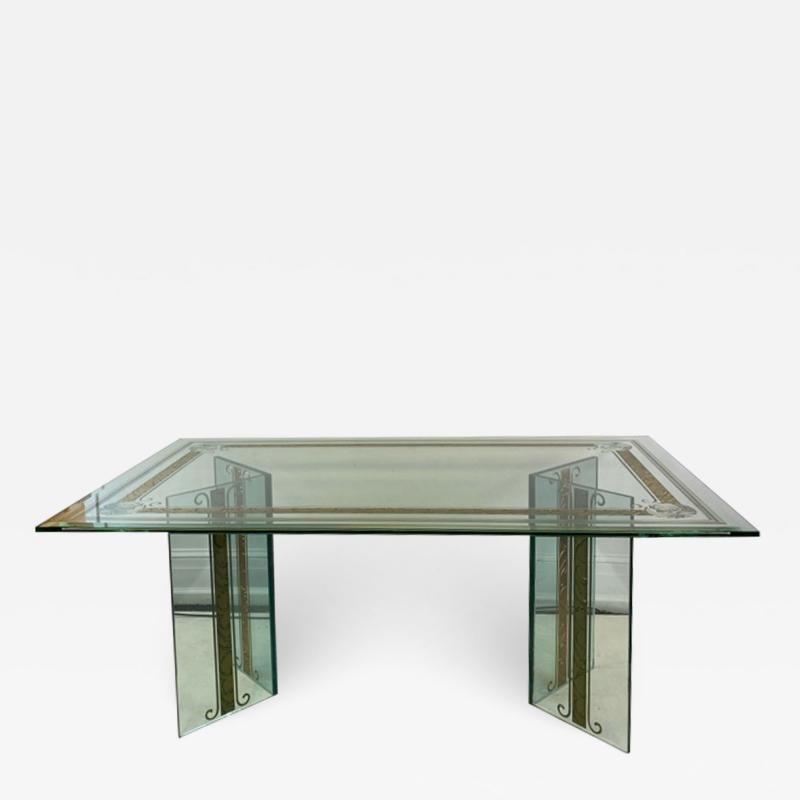 Rene Lalique EXCEPTIONAL MODERN CARVED AND ETCHED DINING TABLE IN THE MANNER OF RENE LALIQUE