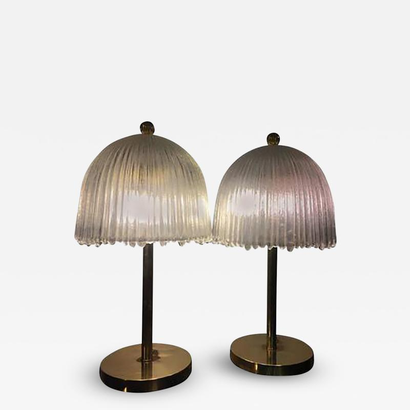 Rene Lalique Elegant Pair of French Tulip Shade Table Lamps in the manner of Rene Lalique