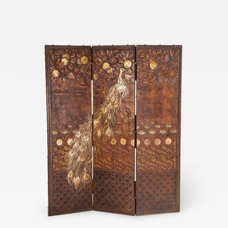 Rene Lalique In the manner of Rene Lalique 3 panel leather screen