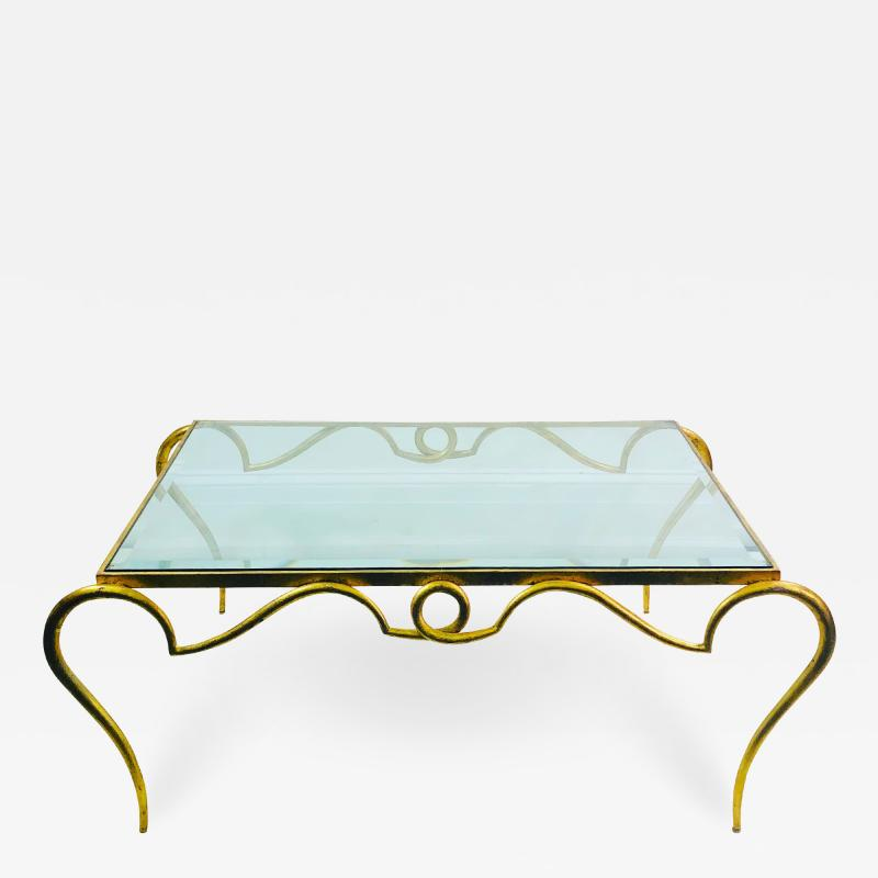 Rene Prou EXQUISITE RENE PROU GILT IRON COFFEE TABLE