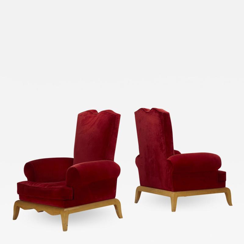Rene Prou Ren Prou lounge chairs pair