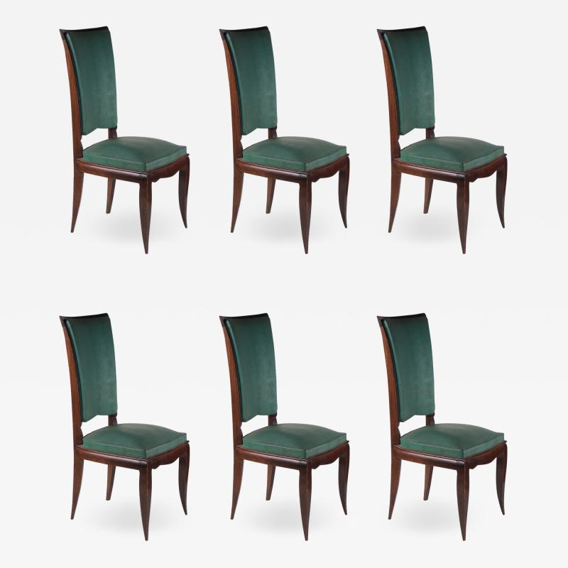 Rene Prou Rene Prou Fine Set of Six Dining Chairs