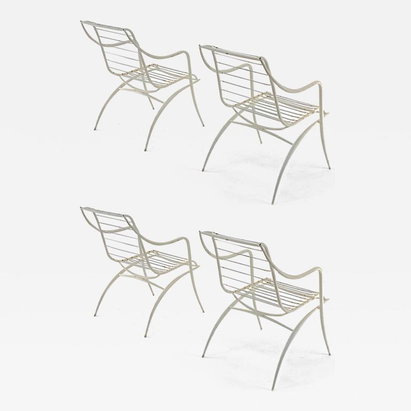 Rene Prou Rene Prou rarest set of 4 outdoor chairs in vintage condition