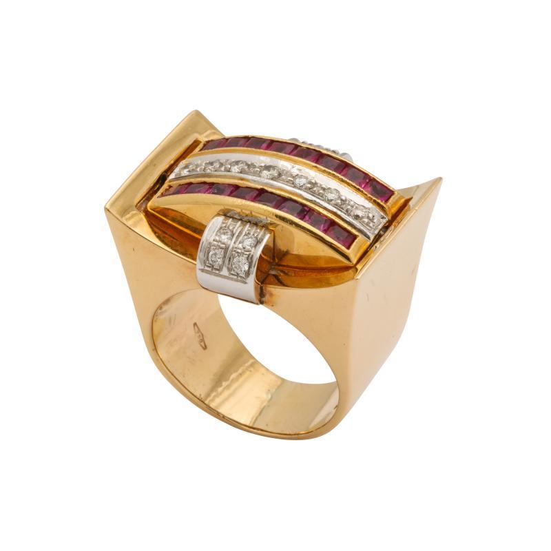 Retro Flip Ring Sapphire Ruby and Diamond 18K