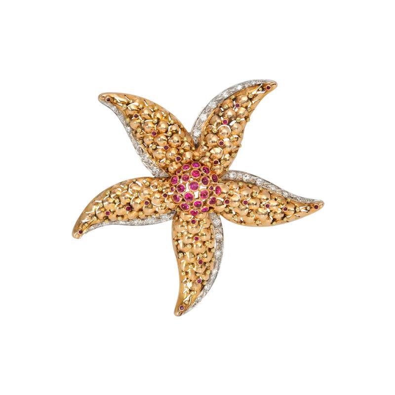 Retro Gold Ruby and Diamond Starfish Brooch