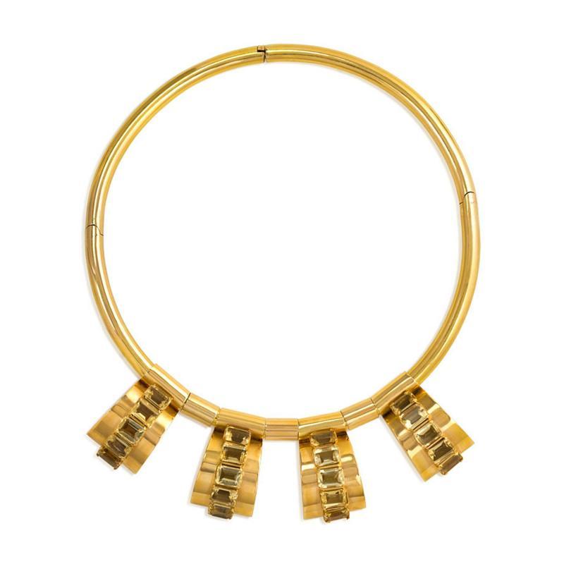 Retro Gold Torque with Citrine Set Pendants