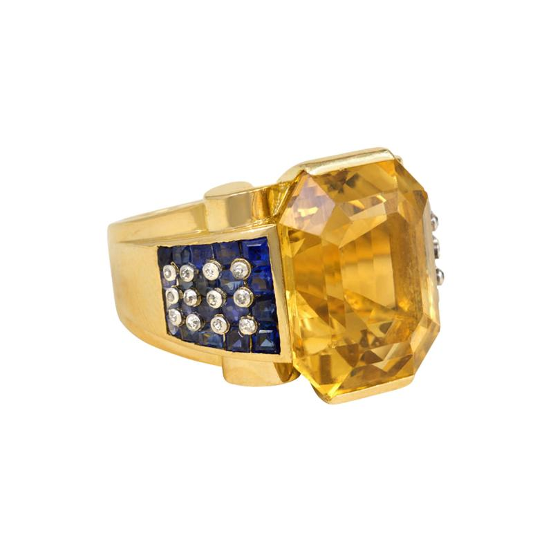 Retro Gold and Citrine Cocktail Ring with Sapphire and Diamond Shoulders