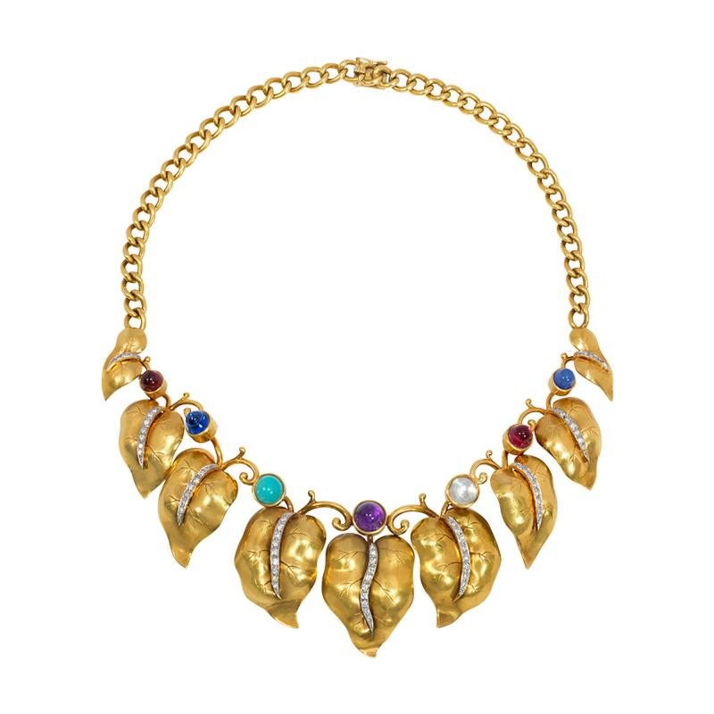 Retro Gold and Multi Gemstone Vine Leaf Necklace