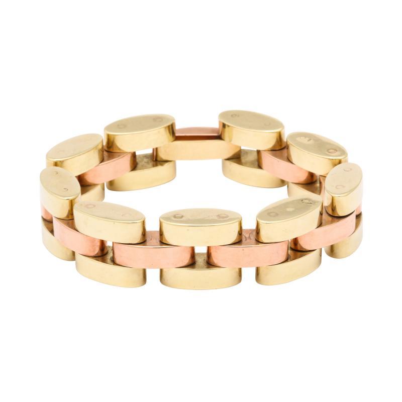 Retro Tank Bracelet in Two Tone 14 kt Gold